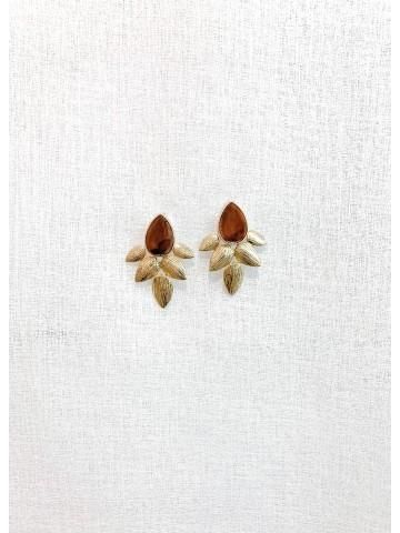 Pendiente Flower Brown