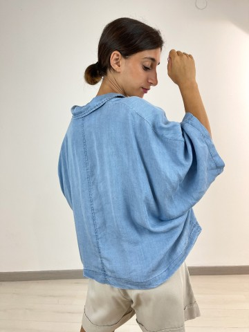 Camisa vaquera bolsillos Azul