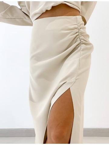 Falda tubo abertura beige