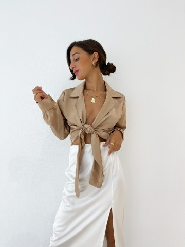 Falda satinada blanco