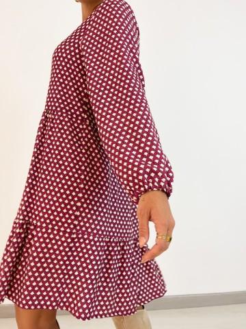Vestido estampado geometrico lila