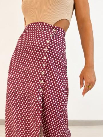Falda midi estampado geometrico