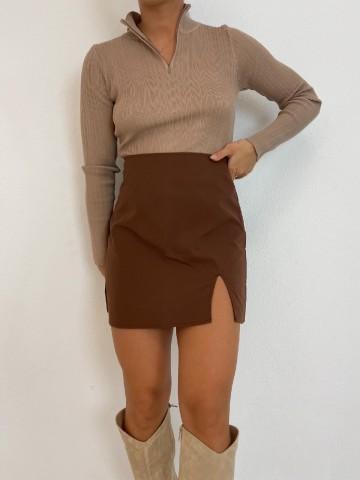 Falda abertura marron