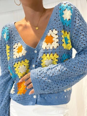 Rebeca punto flores azul