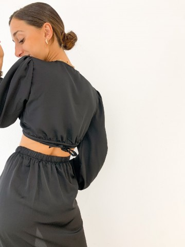 Falda cruzada lazo negra