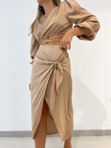 Falda cruzada lazo camel