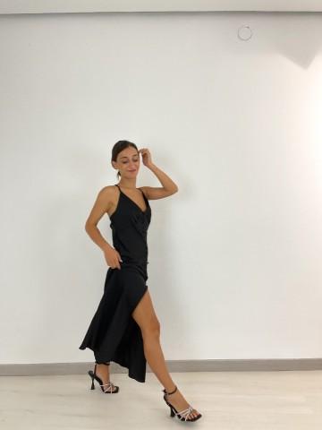 Vestido midi satinado Negro